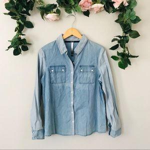 Kensie Large Button Up Long Sleeve Shirt